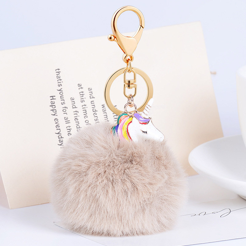 Hot Sale Pom Pom Unicorn Shape Fluffy Faux Rabbit Fur Keychainsfor Women Car Keyrings Handbag Key Bag Pendant Christmas Gift
