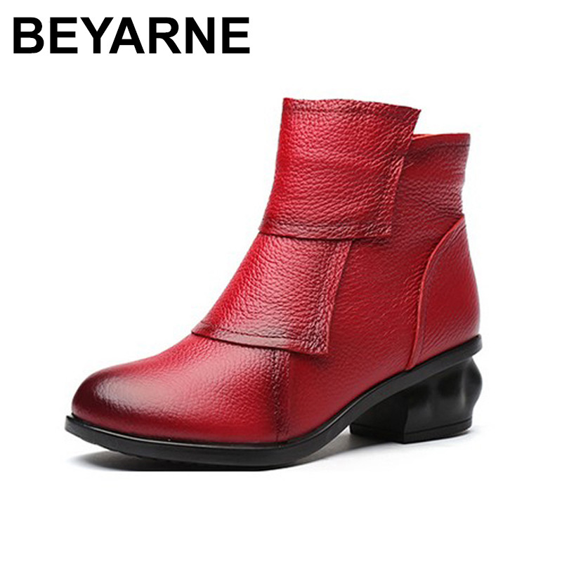 BEYARNE Autumn Winter Women Fashion Boots Genuine Leather Fashion Shoes Rubber Sole Hands Sewing 3 Color