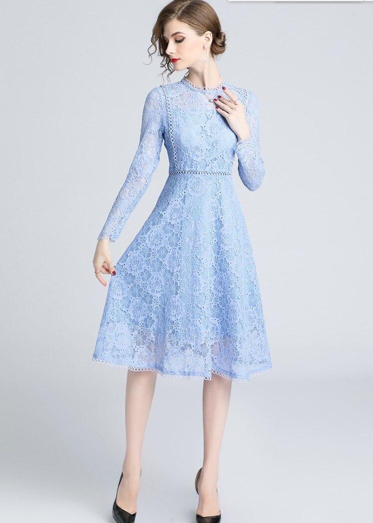 2019 Women s fashion light blue lace dresses slim girls casual quality design sleeve vestidos elegant