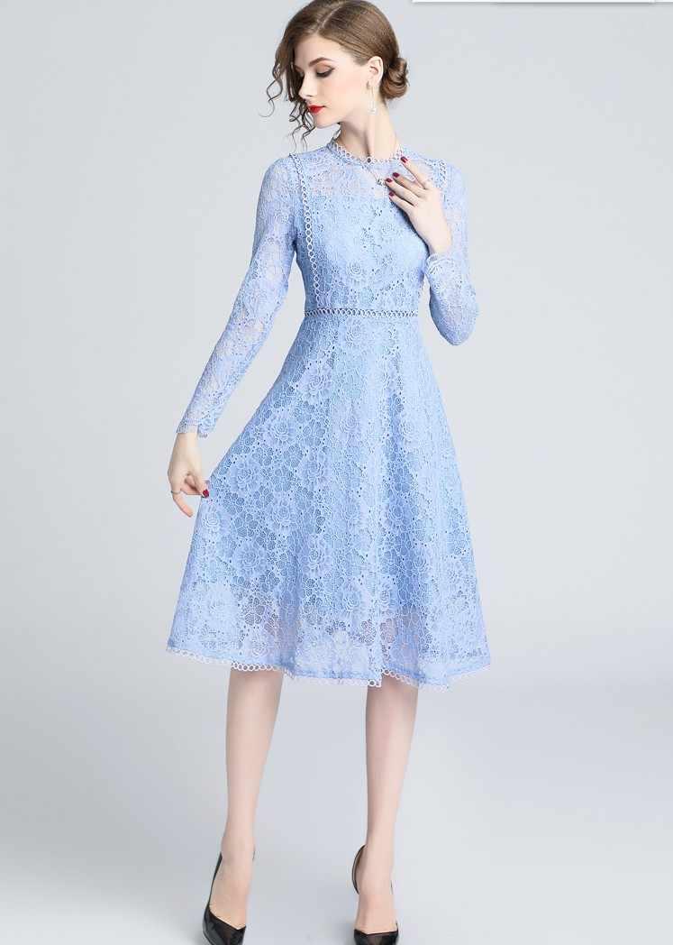 2019 Womens Fashion Light Blue Lace Dresses Slim Girls