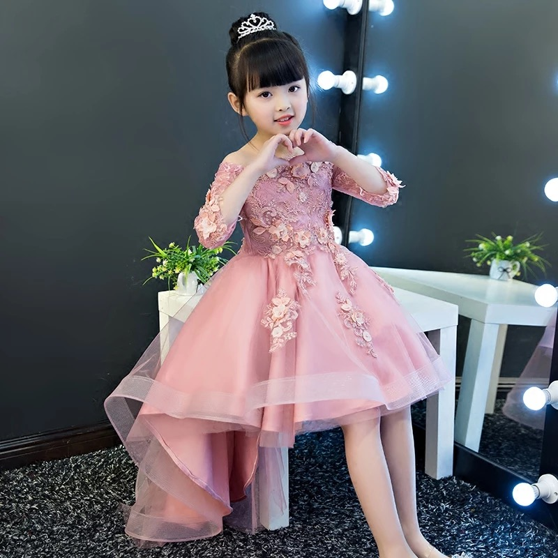 2018 New Spring Children Kids Sweet Beautiful Flowers Lace Princess Dress For Birthday Wedding Party Girls