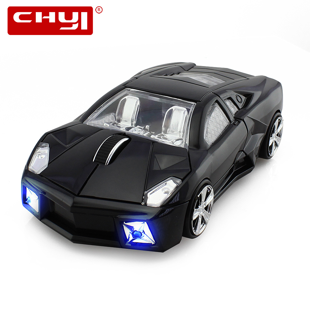 CHYI Trådløs Computer Mus 2.4GHz Cool Car Mouse Trådløs Racing Optisk USB Mus 3D 1600 DPI / CPI Mulighed for PC Laptop Desktop