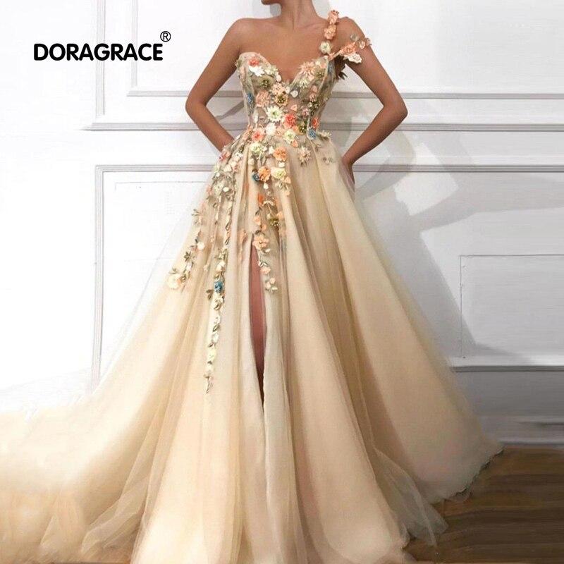 Doragrace Real Photo One Shoulder Appliques Side Split Long Prom Dresses Evening Party Gowns