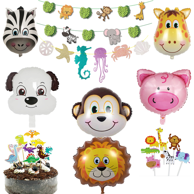 Kids Happy Birthday Party Decoration Jungle Animal Banner Cake Topper Balloon Zoo Safari Supplies 1st