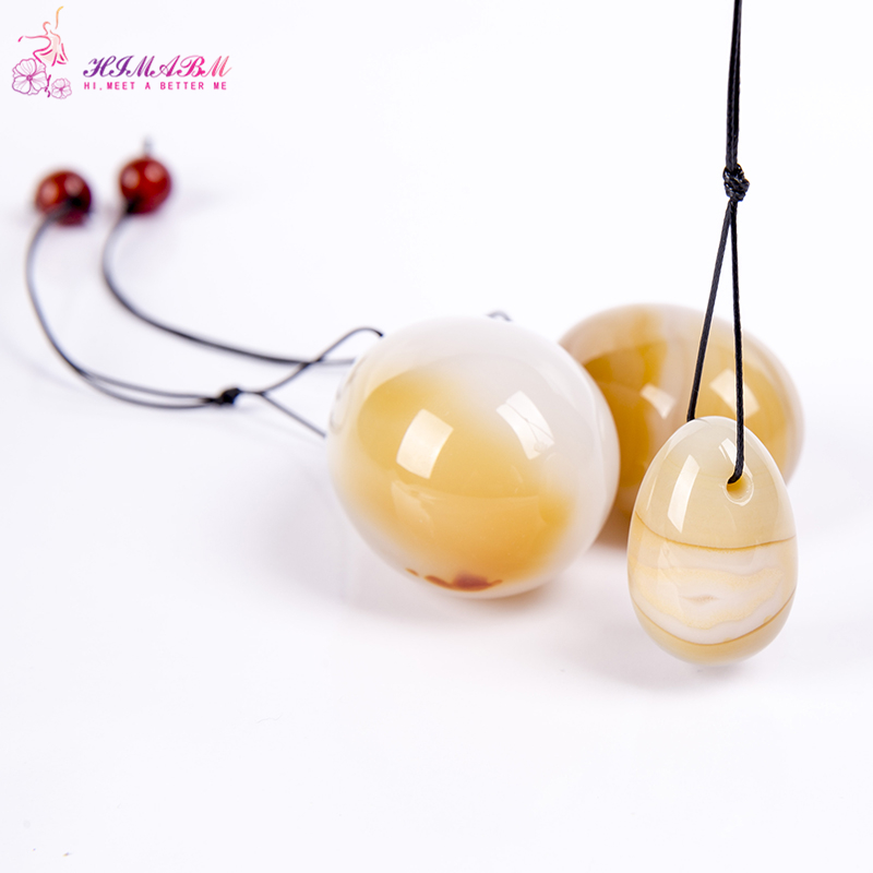HIMABM Natural Agate egg for Kegel Exercise 3pcs in one sets pelvic floor muscles vaginal exercise postpartum yoni ben wa ball himabm 1 pcs natural jade egg for kegel exercise pelvic floor muscles vaginal exercise yoni egg ben wa ball