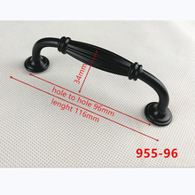 Цинковый сплав черный шкаф ручки американский стиль кухонный шкаф дверные ручки для выдвижных ящиков модная Мебельная ручка B-955-96
