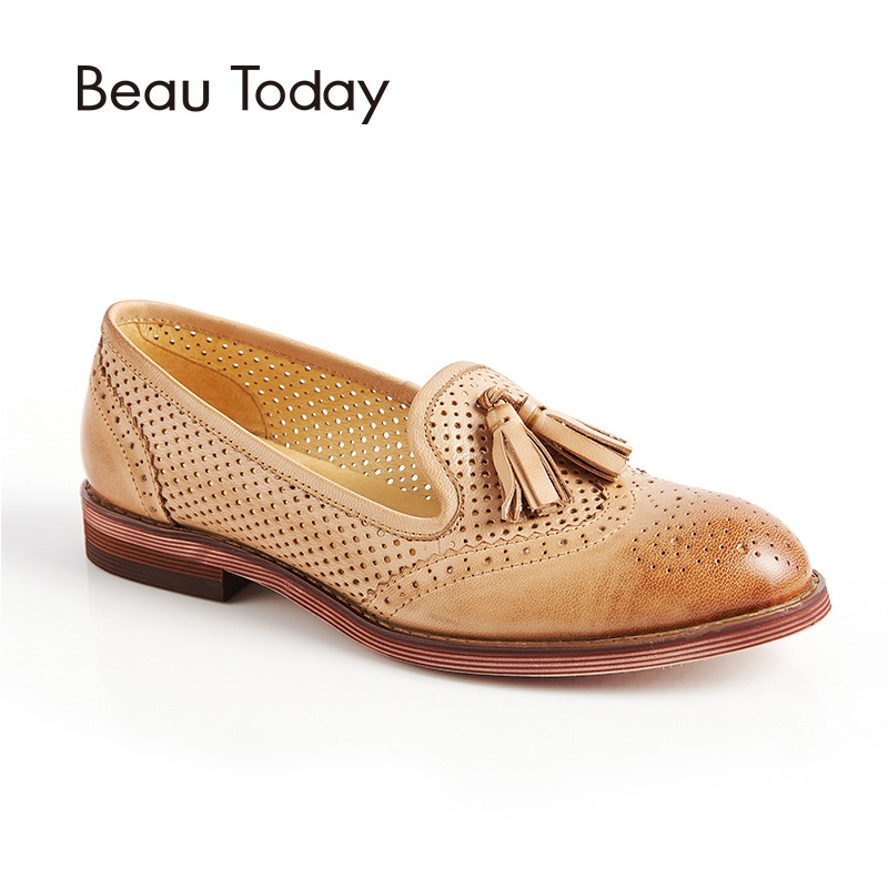 BeauToday Genuine Leather Loafer Women Round Toe Slip On Hollow-out Shoes with Fringes Waxing Sheepskin Flats for Ladies 27504 beautoday genuine leather crystal loafer shoes women round toe slip on casual shoes sheepskin leather flats 27038