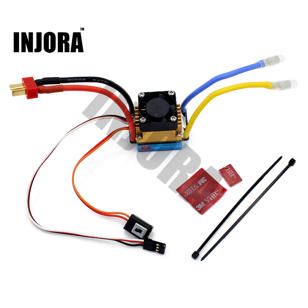 INJORA RC Boat 480A Waterproof Brushed ESC Speed Controller with 5V/3A BEC for RC Boat Parts 1pcs new rain 320a brushed esc speed controller dual mode regulator band brake 5v 3a for 1 10 rc car rc boat dropship