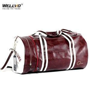 Image 1 - トップ男性旅行荷物独立したシューズバッグ収納女性フィットネスバッグpuレザー印刷バスケットボールトレーニングバッグXA253WC