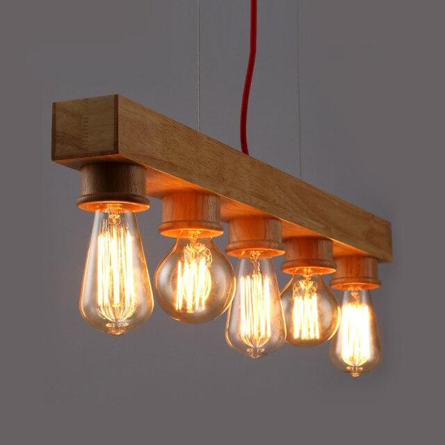 Pure Natural Wood Makes Pendant lamp 5 Light Wood Lamp ...