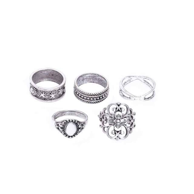 5 Pcs/Set Retro Carved Ring Bohemian Midi Ring Set