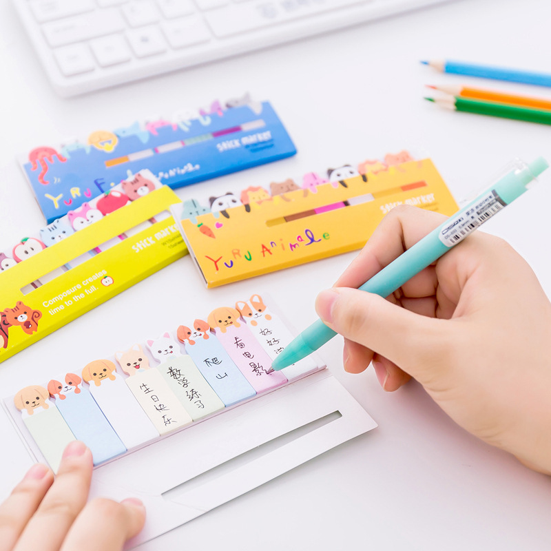 Memo Pads Cute Animal Bookmark Notebooks Writing Memo Pad Office School Supplies Scrapbook Stickers Kids Stationery Note Page Flags Gift Easy To Lubricate