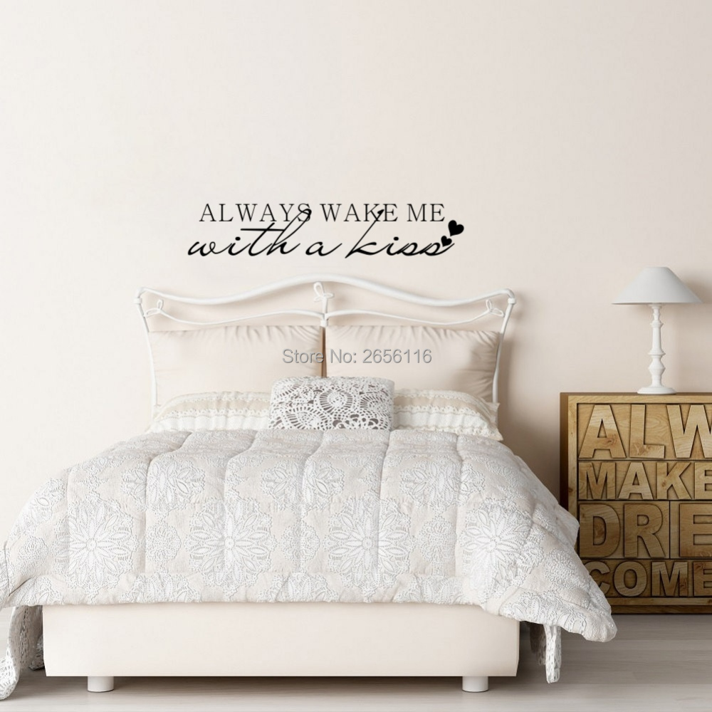 Always wake me with a kiss Love Quotes Wall Decal Decor Lettering Art Mural Sticker