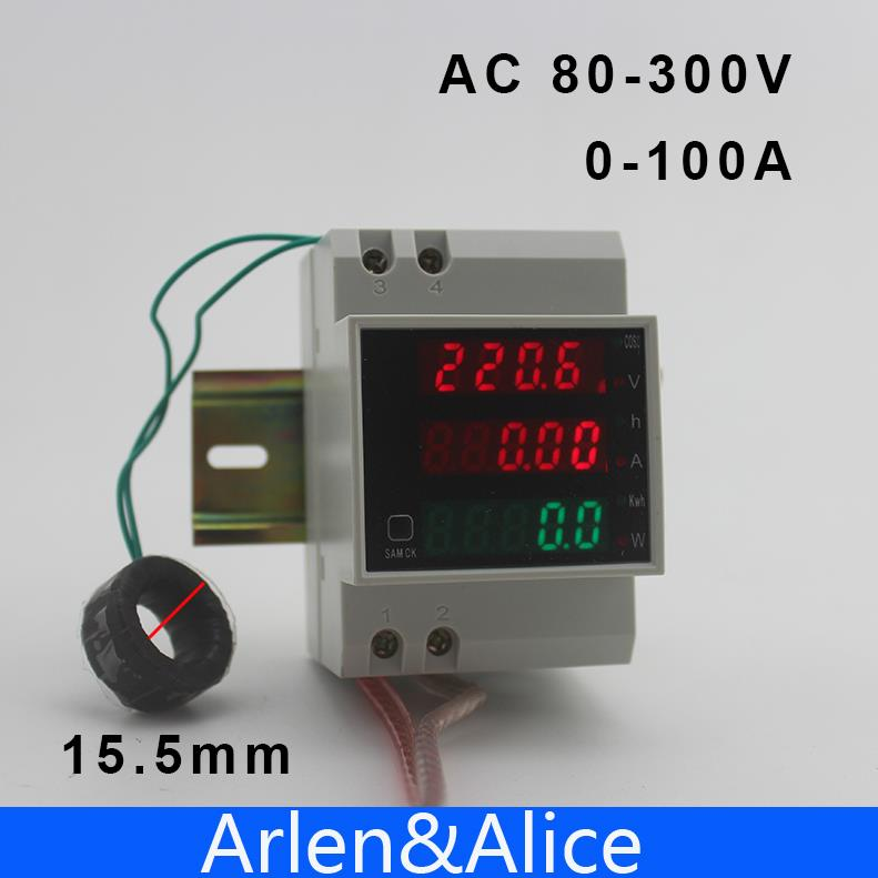 Din Rail LED AC 80-300V 0-100.0A Voltmeter Ammeter Display Active Power And Power Factor Time Energy Meter Witch Extra CT