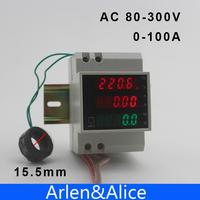 Trilho din led ac 80-300 v 0-100.0a voltímetro amperímetro display potência ativa e fator de potência tempo medidor de energia bruxa extra ct