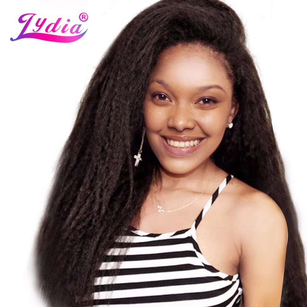 Lydia Kinky Straight Hair-Extension Synthetic-Wave Women 12-24inch Black for Pure-Color