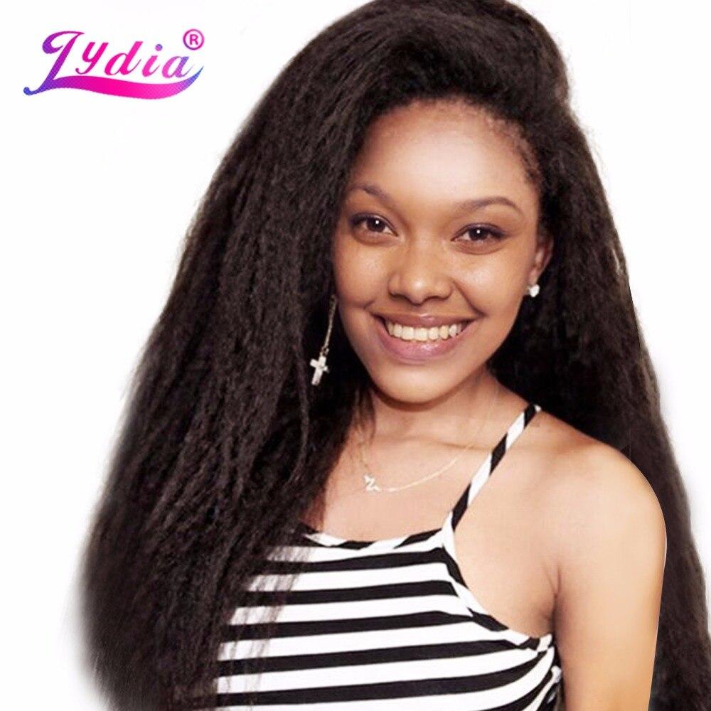 Lydia 1 pcs/pack Crépus Cheveux Raides Tissage 12-24 pouce Pur Couleur Synthétique Extension de Cheveux de Vague Pour Les Femmes Noires cheveux Bundles