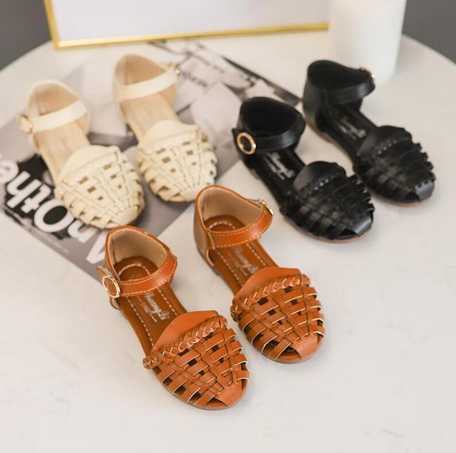 2019 Girls Summer Sandals Baby Girl Toddler Kids Shoes With Sweet Princess Soft Children's Beach Shoes Black Beige Brown