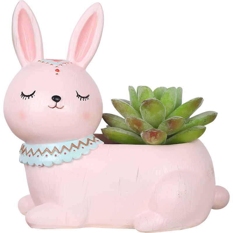 1pcs Mini Lovely Animal Succulent Flower Planter Plant Pot Resin Bonsai Cactus Flowerpot Home Garden Wedding Birthday Party Gift in Flower Pots Planters from Home Garden