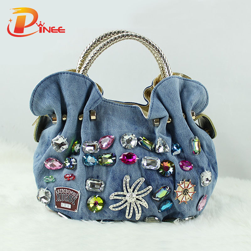 New Women Denim Bags Sweet Blue Pattern High Quality Handbags With Diamond Ladi