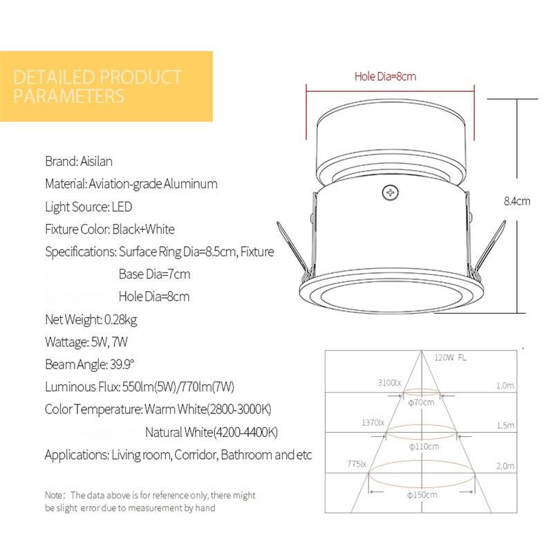 Aisilan encastré LED nordique étanche Downlight Angle réglable intégré LED Spot lumière AC90-260V 5 W pour l'éclairage intérieur - 5