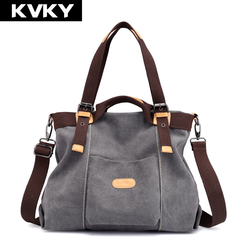 KVKY Canvas Women Bag High Quality Handbags Hobos Shoulder Bags Vintage Female Crossbody Bag Ladies Casual Tote Bolsas Feminina kvky brand canvas striped women shoulder bag messenger bags high quality casual tote big handbag travel with long belt bolsas