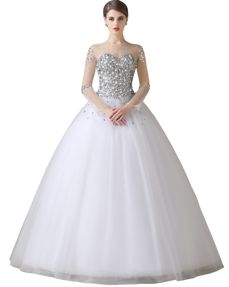 Full Ball Gown Wedding Dresses: Ball Gown Wedding Dress With Sleeves 2017 Vestidos De