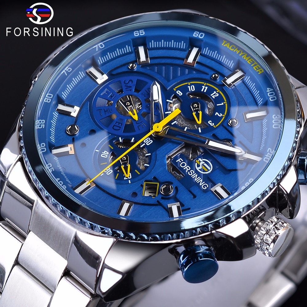 Forsining Blue Three Dial Design Silver Steel Calendar Display Men Sport Automatic Mechanical Wrist Watch Top Brand Luxury Clock