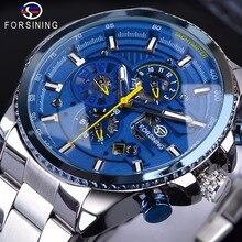 Forsining montre bracelet mécanique pour hommes, automatique, en acier argenté, Design à trois cadrans, marque de luxe, horloge