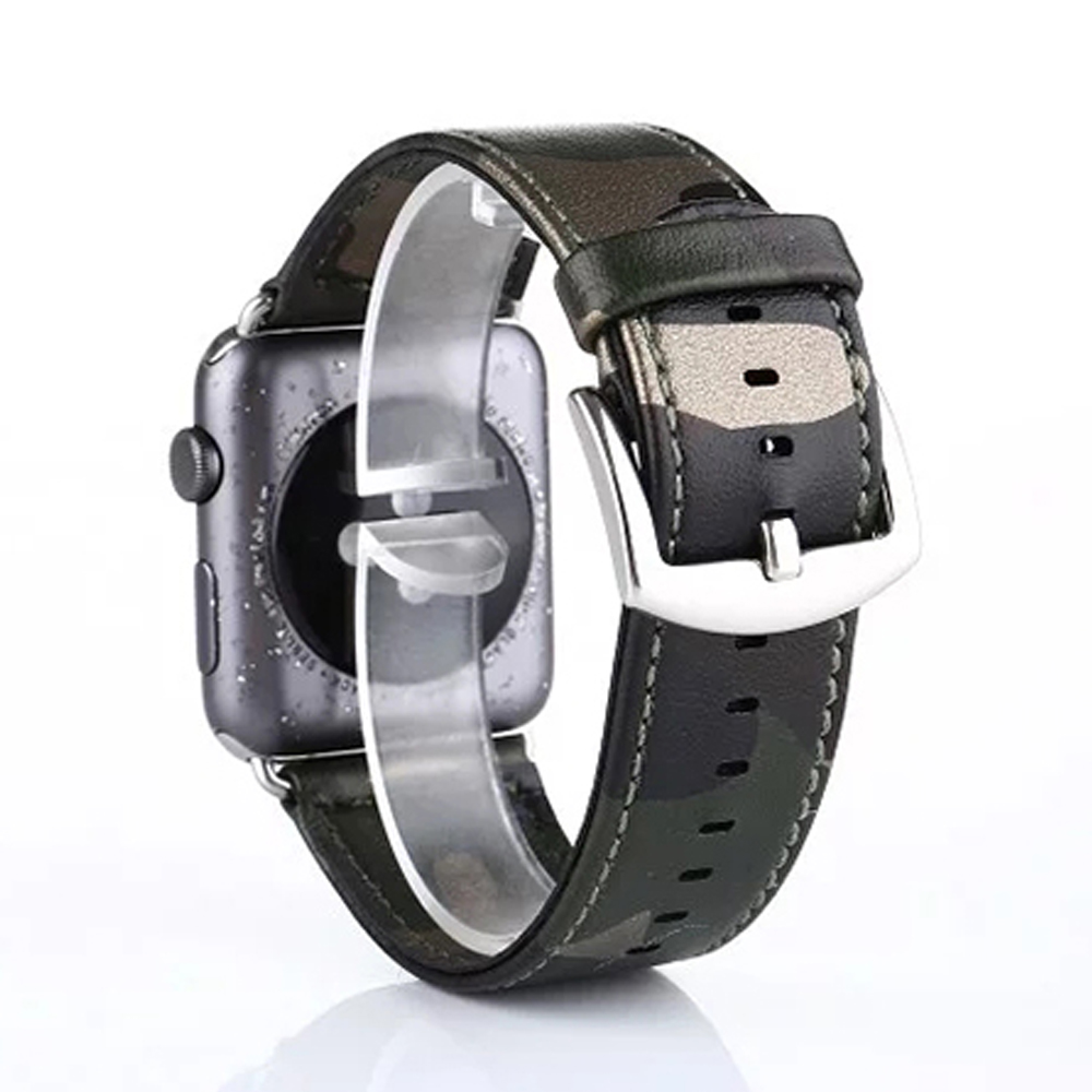 Prix pour Camouflage armée vert forces spéciales en cuir véritable montre de courroie de bande pour apple iwatch 38/42mm montre bracelet ceinture i50.