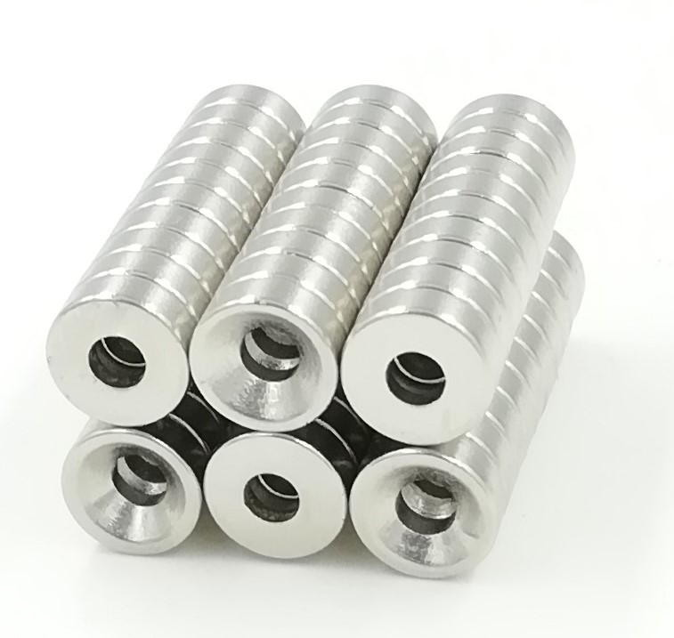 1000 pcs 8 x 3 mm Hole 3mm N35 Super Strong Round Neodymium Countersunk Ring Magnets