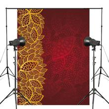 Exquisite Floral Pattern Photography Background Golden Red Backdrop Studio Props Wall 150x220cm