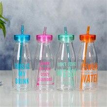 Verano 550 ml Unbreakable Botella de Agua Portable de Los Deportes Taza De Plástico Con Paja Mi Botella Creativa 2 Cubre Botle