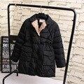 Отложным Воротником Женщины Парки Повседневная 2016 Зима Теплая Плюс Размер Однобортный Свободные Длинные Куртка Пальто Черный 5XL KK1999