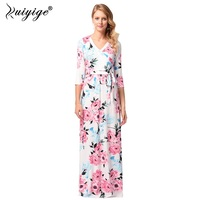 Ruiyige 2018 Women Summer Beach Boho Maxi Dress High Quality Brand Flower Printed Long Dresses Feminine