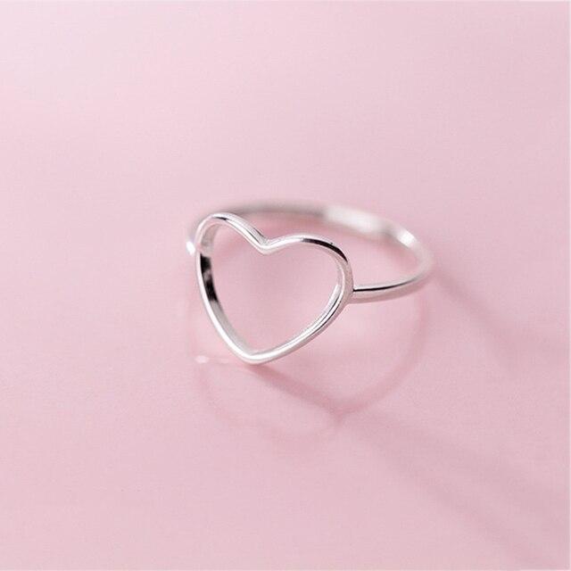 INZATT Genuine 925 Sterling Silver Minimalist Ring For Women Wedding Hollow Heart Fashion jewelry Cute Valentine's Day Gift 3