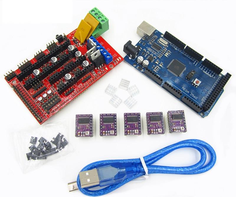 3D Printer 1pcs Mega 2560 R3 + 1pcs RAMPS 1.4 control panel+ 5pcs DRV8825 Stepper Motor Drive Carrier Reprap снаряжение mega drive
