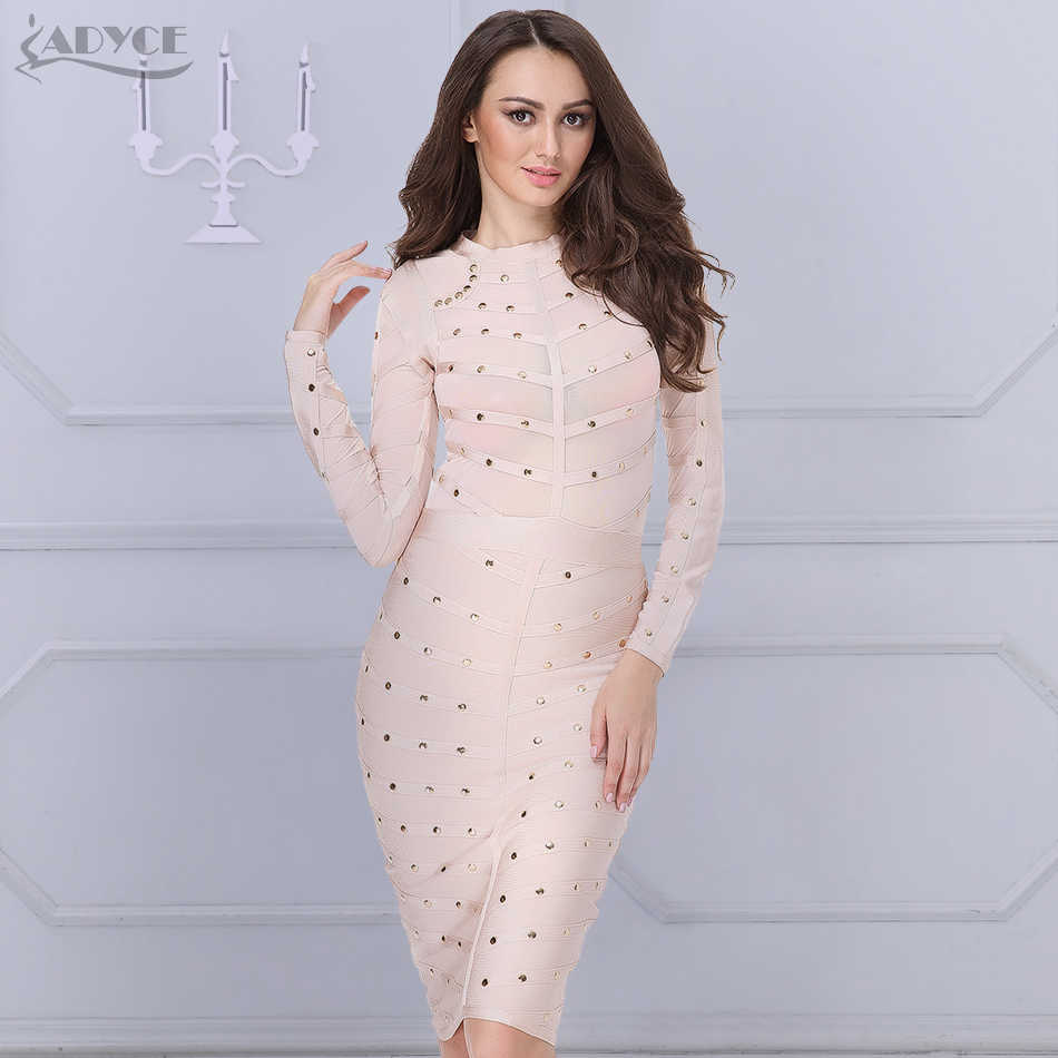 4ffae43c3146 Detail Feedback Questions about 2018 New Women party Dress Bodycon Dress  Long Sleeve Studded Button Olive Mesh High Neck Celebrity Sexy Bandage Dress  ...