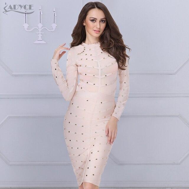 1115d0f7b2e 2019 nouveau femmes robe de soirée moulante robe à manches longues clouté  bouton Olive maille col