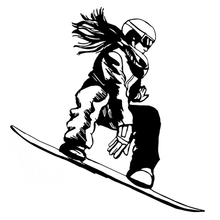 15.4CM*16.2CM Interesting Snowboarder Girl Extreme Sport Car Stickers Vinyl Black/Silver S9-0996(China)