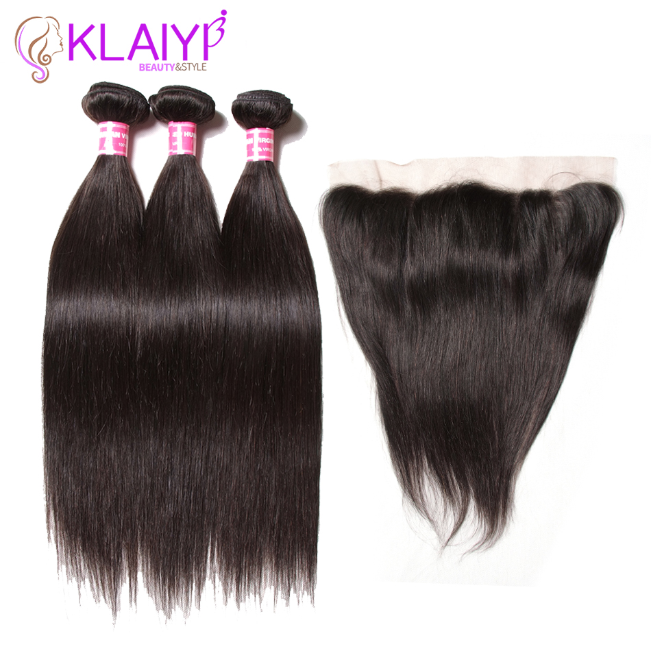 Klaiyi Remy Hair Ear To Ear Lace Frontal Closure With Bundles Straight Brazilian Human Hair With