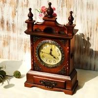 Lagre Wood Table Clock Digital Watch Retro Bracket Clock Saat Clocks Klok Masa Saati Relogio de mesa Despertador mute home decor