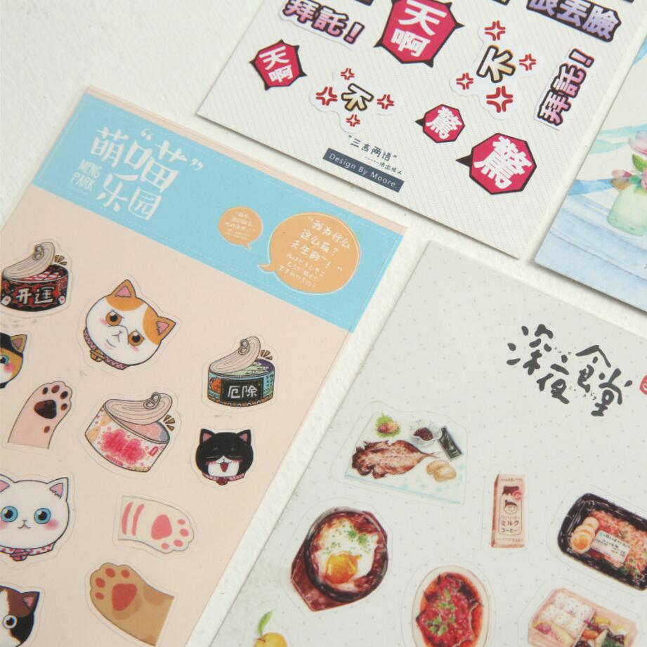 Scrapbook paper and stickers - 5pcs Stationery Food Cat Plants Transparent Background Sticker Diary Decorative Stickers Scrapbook Paper Diary Stickers