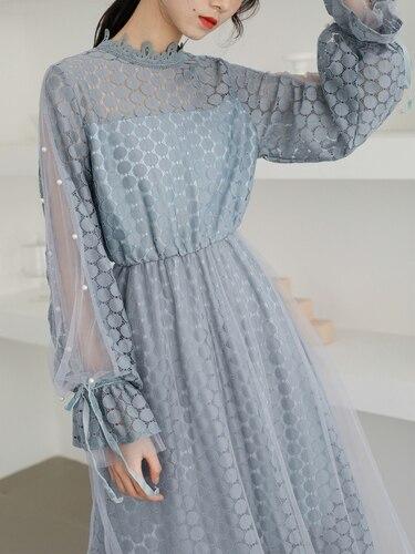 Français Style Mi De Dot Femmes Femme Flare 2019 Robes Manches Dentelle Col Platycodon mollet Montant Bleu Pour Robe Printemps ZiuOXkP