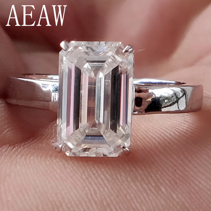 3 Carat ct 7x11mm DF Grade Emerald Cut Engagement&Wedding Moissanite Lab Diamond Ring in 18K Plated Sterling Silver transgems 1 3ctw princess cut lab grown moissanite diamond engagement wedding ring platinum plated 925 sterling silver