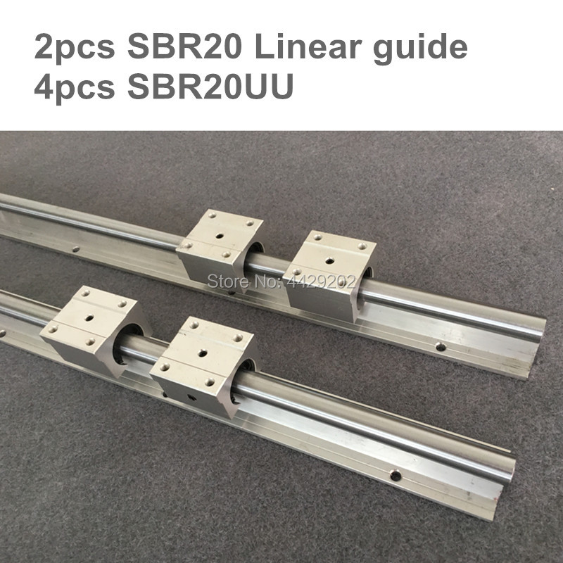 20mm linear rail SBR20 500 600 700mm 2pcs and 4pcs SBR20UU linear bearing blocks for cnc parts 20mm linear guide 4pcs lot sbr20uu sbr20 20mm linear ball bearing block cnc router cnc parts and machine aluminum block linear guide rail