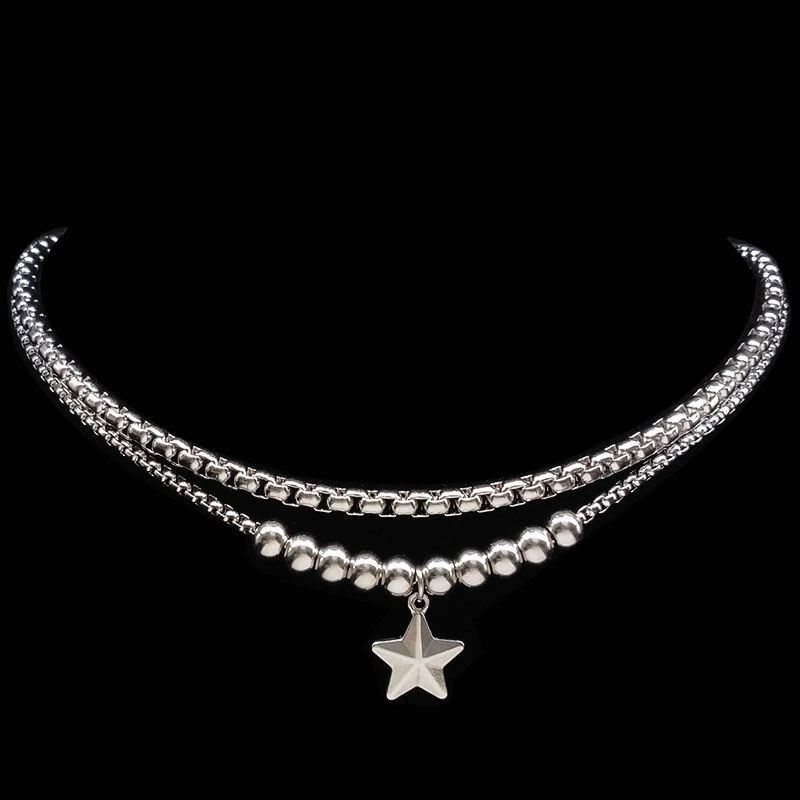 2018 Fashion Two Stainless Steel Choker Necklace for Women Bead Short Silver Color Necklaces & Pendants jewellery bijoux N17979