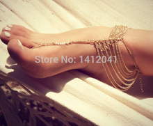 FD761 Fashion Fine Beach Multi chain Tassel Toe  Ankle Bracelet Chain Link Foot JEWELRY