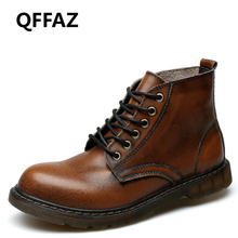 QFFAZ Men Boots Men Business Casual Leather Shoes Autumn Fashion Oxford Shoes High Top Shoes Outdoor botas invierno hombre