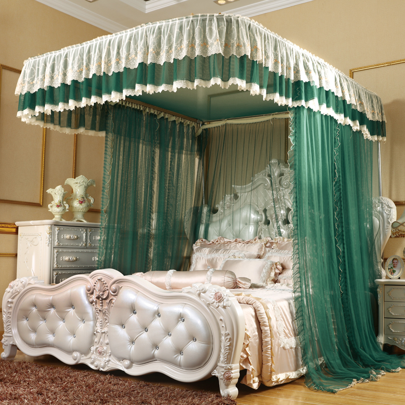 U type Palace style Guide rail mosquito net Mopping the style three open door telescopic mosquito net 1.8m 1.5m 2m bed